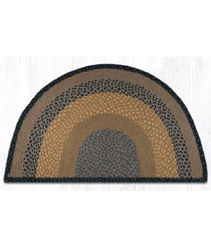 SC-99 Brown/Black/Charcoal Large Rug Slice 24 in.x39 in.x0.17 in.