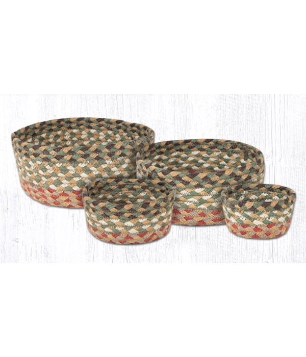 CB-24 Olive/Burgundy/Gray Casserole Baskets Set of 4x0.17 in.