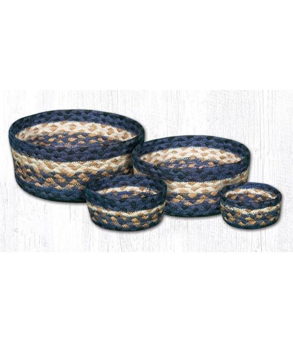 CB-79 Light & Dark Blue/Mustard Casserole Baskets Set of 4x0.17 in.