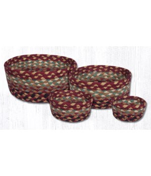 CB-357 Burgundy/Gray/Cream Casserole Baskets Set of 4x0.17 in.