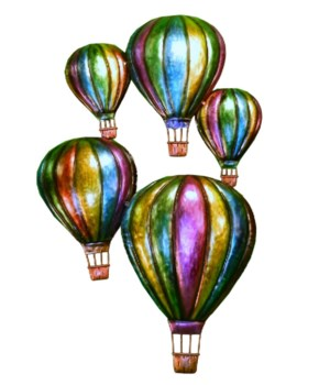 METAL BALLOON WALL HANGING SET OF 2 - 22 H X 14 in. W