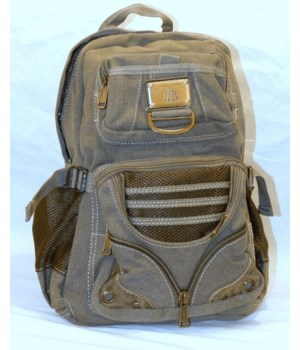 GREEN CANVAS BACKPACK 16 in.