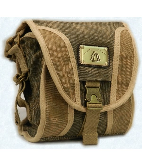 GREEN CANVAS PURSE 9 in.