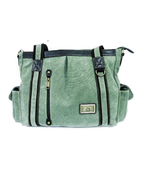 SAGE GREEN CANVAS BAG 13.5 in.
