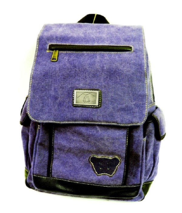 PURPLE CANVAS BACKPACK 17.5 in.