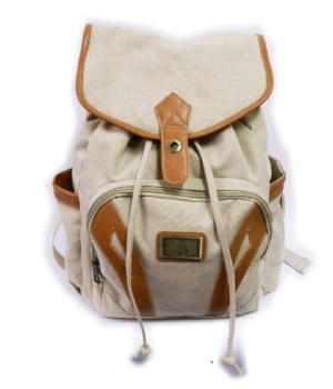 CREAM CANVAS BACKPACK 19 in.