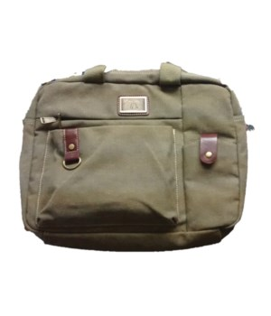 GREEN CANVAS COMPUTER BAG 16 in.