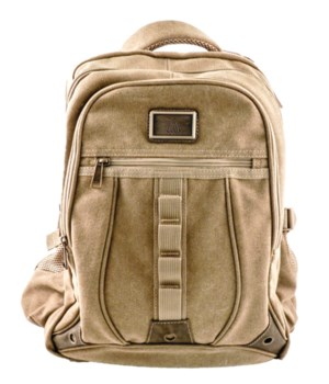 TAN CANVAS BACKPACK 18 in.