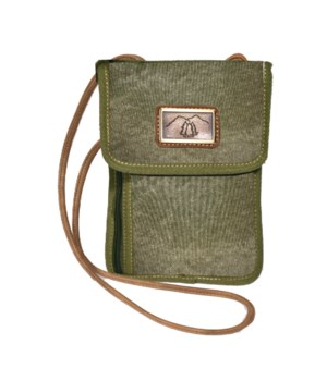 GREEN CANVAS POUCH 8.7 in.
