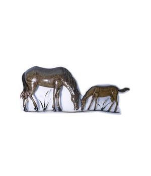 HORSE & COLT GRAZING WALL HANGING 27.5 x 11.8 in.