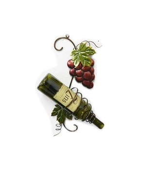RED GRAPE HANGING SINGLE WINE BOTTLE HOLDER 16.5 x 7.5 in.