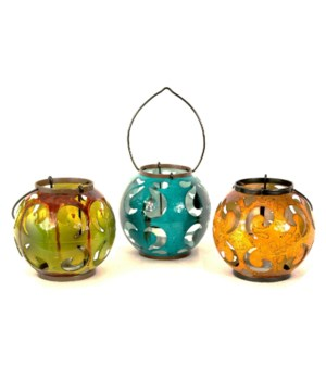 METAL CANDLE HOLDERS  SET OF 3 - 5.5 x 5.5 in.