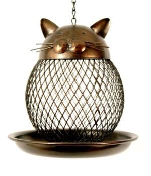 METAL CAT BIRD FEEDER 6.5 x 6.5 in.