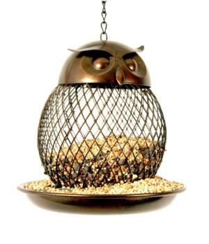 METAL OWL BIRD FEEDER 6.5 x 6.5 in.