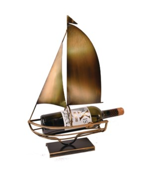 MEATAL SAILBOAT WINE HOLDER 17.7 in.H