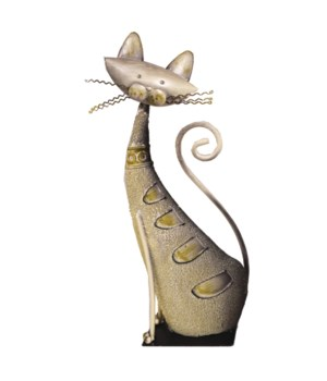 METAL SILLY CAT TABLE ART 14.5 in. H