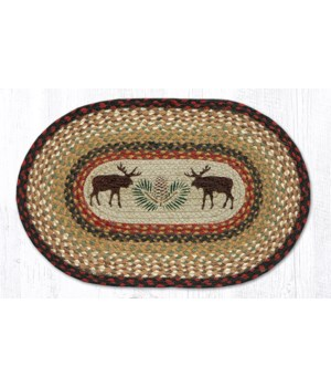 PM-OP-19 Moose/Pinecone Oval Placemat 13 in.x19 in.x0.17 in.