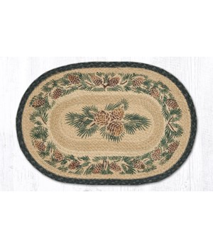 PM-025A Pinecone Oval Placemat 13 in.x19 in.x0.17 in.