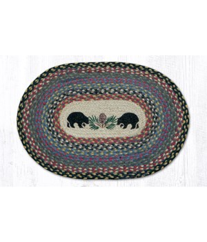 PM-OP-43 Black Bears Oval Placemat 13 in.x19 in.x0.17 in.