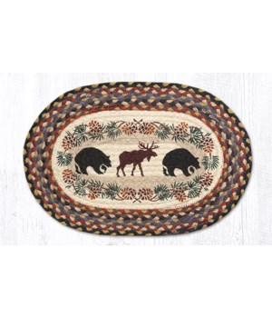 PM-OP-43 Bear/Moose Oval Placemat 13 in.x19 in.x0.17 in.