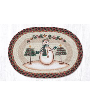 PM-OP-81 Moon & Star Snowman Oval Placemat 13 in.x19 in.x0.17 in.