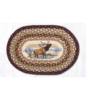 PM-OP-319 Winter Elk Oval Placemat 13 in.x19 in.x0.17 in.