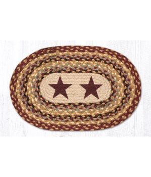 PM-OP-357 Burgundy Stars Oval Placemat 13 in.x19 in.x0.17 in.