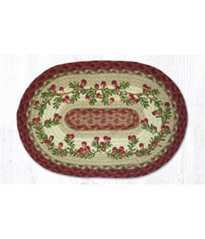 PM-OP-390 Cranberries Oval Placemat 13 in.x19 in.x0.17 in.