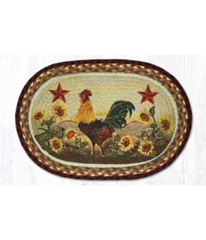 PM-OP-391 Morning Rooster Oval Placemat 13 in.x19 in.x0.17 in.