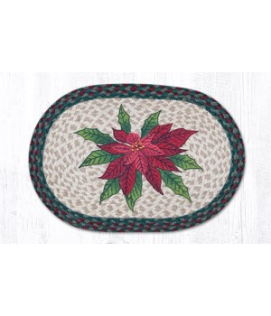PM-OP-508 Poinsettia Oval Placemat 13 in.x19 in.x0.17 in.