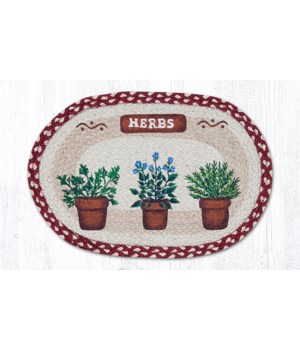 PM-OP-524 Herbs Oval Placemat 13 in.x19 in.x0.17 in.