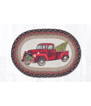PM-OP-530 Christmas Truck Oval Placemat 13 in.x19 in.x0.17 in.