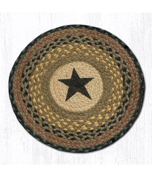 CH-99 Black Star Round Chair Pad 15.5 x 15.5 in.x0.17 in.
