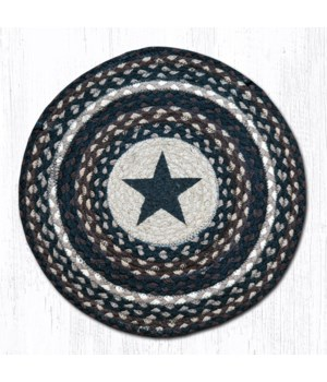 CH-313 Black Star Round Chair Pad 15.5 x 15.5 in.x0.17 in.