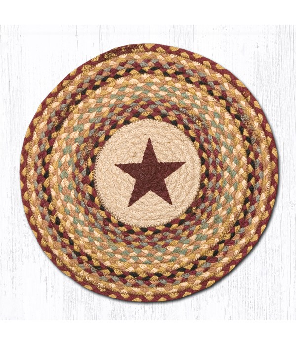 CH-357 Burgundy Star Round Chair Pad 15.5 x 15.5 in.x0.17 in.
