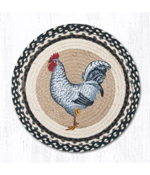 CH-430 Black & White Rooster Round Chair Pad 15.5 x 15.5 in.x0.17 in.