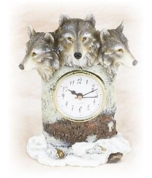 Wolf Clock 7 in. H
