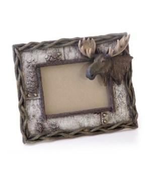 Birch/Moose Photo Frame 6 x 4 x 9.25 in. L