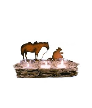 Western candle holder 3 votive 11 in. W