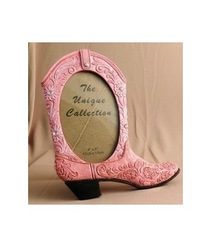 Pink Boot Picture Frame 4 x 6 x 8.5 in. H