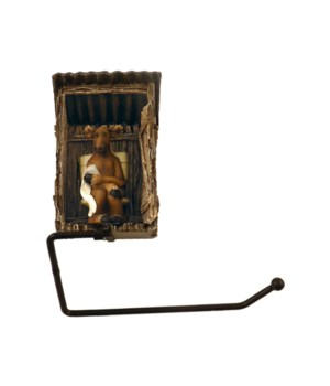 MOOSE IN OUTHOUSE TP HOLDER 9.6 in.