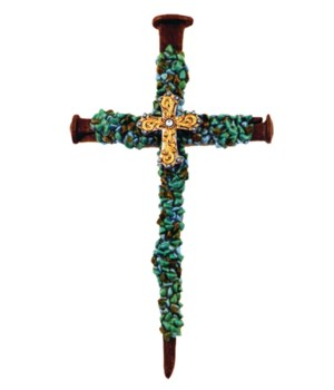 TURQUOISE NAIL CROSS 15.3 in.