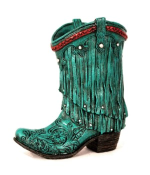 TURQUOISE COWGIRL BOOT VASE 7 in. H