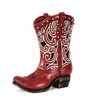 RED COWGIRL BOOT VASE 7 in. H