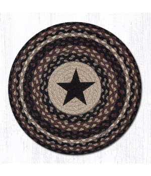 PM-RP-313 Black Star Printed Round Placemat 15 in.x15 in.x0.17 in.