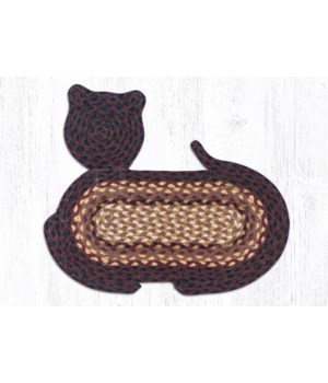 CT-371 Black Cherry/Chocolate/Cream Cat Shaped Rug 14.5 in.x19.5 in.x0.17 in.