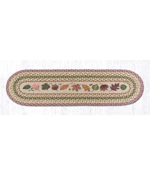 OP-24 Autumn Leaves Oval Patch Runner 13 in.x48 in.x0.17 in.