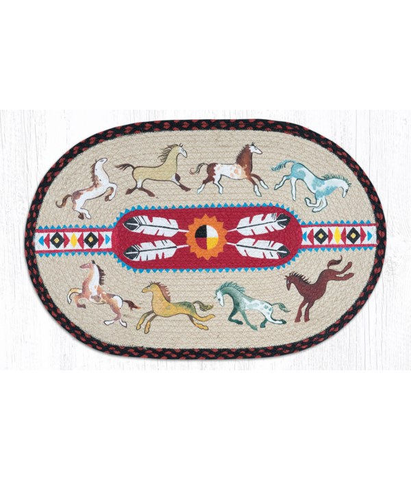 OP-19 Native Horses Oval Patch 20 x 30 x 0.17 in.
