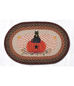 OP-222 Black Cat Pumpkin Oval Patch 20 x 30 x 0.17 in.