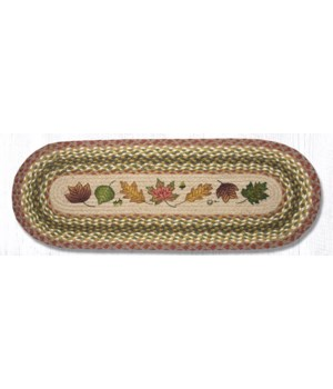 OP-24 Autumn Leaves Oval Patch Runner 13 in.x36 in.x0.17 in.